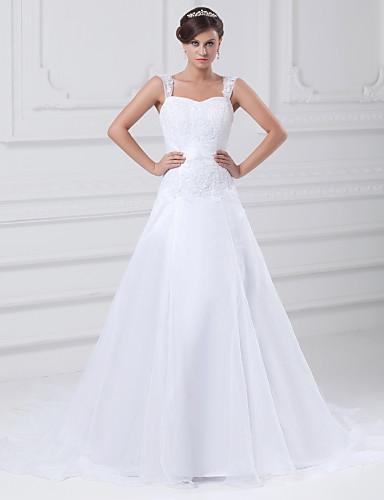 cheap Wedding Dresses-A-Line Square Neck Chapel Train Lace / Organza / Satin Regular Straps Wedding Dresses with Beading / Appliques 2020