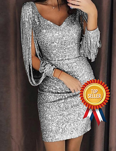cheap 2020 Trends-Women's Split Party Cocktail Party New Year Glitters Sexy Split Sleeve Slim Bodycon Dress - Solid Color Sequins Deep V V Neck Black Silver Yellow S M L XL
