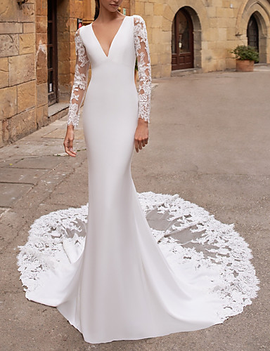 cheap Wedding Dresses-Mermaid / Trumpet V Neck Court Train Lace / Stretch Satin Long Sleeve Plus Size / Illusion Sleeve Wedding Dresses with Buttons 2020