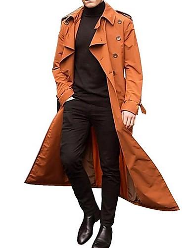 billige Herrejakker og -frakker-Herre Daglig Efterår vinter Lang Trenchcoat, Ensfarvet Aftæpning Langærmet Polyester Orange / Grøn