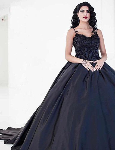 cheap Wedding Dresses-Ball Gown Sweetheart Neckline Court Train Lace / Satin Spaghetti Strap Black Wedding Dresses with Draping / Appliques 2020