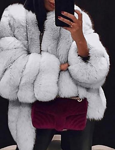 cheap Women's Fur & Faux Fur Coats-Women's Daily Fall & Winter Regular Faux Fur Coat, Solid Colored V Neck Long Sleeve Faux Fur Black / Light gray / White