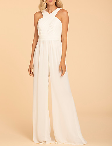 cheap Bridesmaid Dresses-Jumpsuits Halter Neck Floor Length Chiffon Bridesmaid Dress with Ruching / Open Back