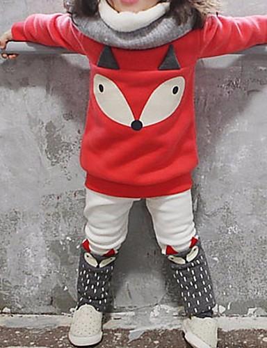 tanie Kids' Sleepwear-Dzieci Dla dziewczynek Podstawowy Nadruk Długi rękaw Komplet odzieży Czerwony