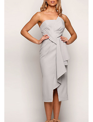 cheap Bridesmaid Dresses-Sheath / Column Strapless Tea Length Jersey Bridesmaid Dress with Split Front / Ruching