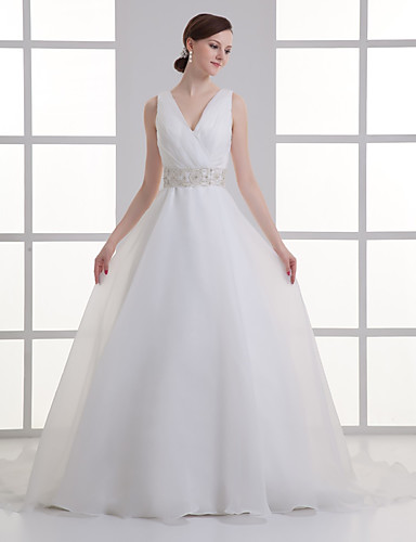 cheap Wedding Dresses-A-Line V Neck Court Train Organza / Satin Regular Straps Wedding Dresses with Buttons / Ruched / Embroidery 2020