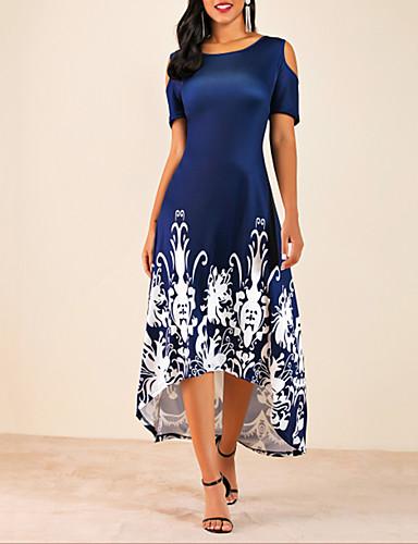 Mulheres Tamanhos Grandes Casual Básico Assimétrico Ombro frio balanço Vestido - Com Corte Floral Estampado, Floral Flor Médio Cinto Não Incluso