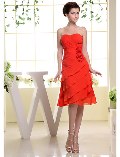 cheap Bridesmaid Dresses-A-Line Sweetheart Neckline Knee Length Chiffon Bridesmaid Dress with Cascading Ruffles / Ruching