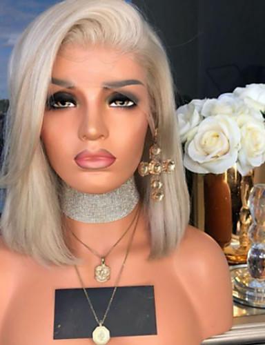 halpa Synteettiset peruukit-Synteettiset peruukit Kinky Straight Epäsymmetrinen leikkaus Peruukki Keskipitkä Vaaleahiuksisuus Synteettiset hiukset 15 inch Naisten Paras laatu Vaaleahiuksisuus