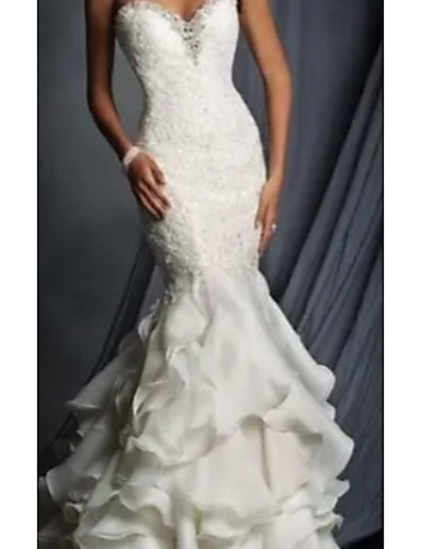 cheap Wedding Dresses-Mermaid / Trumpet Sweetheart Neckline Court Train Tulle / Charmeuse Strapless Formal Plus Size Wedding Dresses with Lace Insert / Cascading Ruffles 2020