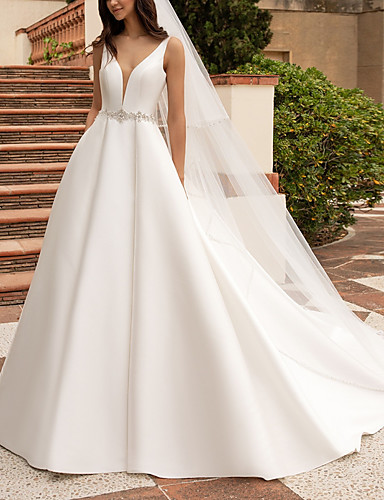 cheap Wedding Dresses-A-Line V Neck Court Train Satin Regular Straps Plus Size Wedding Dresses with Sashes / Ribbons / Buttons 2020
