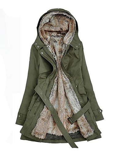 cheap 2020 F/W-Women's Winter Parka Parka Casual / Daily Solid Colored Long Cotton Long Sleeve Hooded Black / Army Green / Beige S / M / L