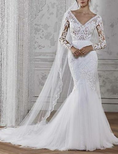 cheap Wedding Dresses-Mermaid / Trumpet V Neck Court Train Lace / Tulle Long Sleeve Boho Illusion Sleeve Wedding Dresses with 2020