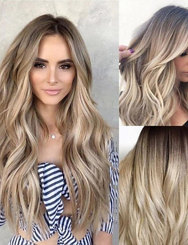 abordables Perruques Synthétiques-Perruque Synthétique Ondulation naturelle Coupe Asymétrique Perruque Long Blond Cheveux Synthétiques 25 pouce Femme curling Marron clair
