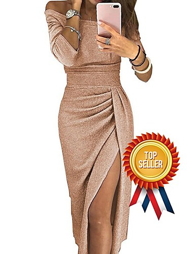 cheap 2020 Trends-Women's Off Shoulder Cocktail Party New Year Going out Sexy Asymmetrical Bodycon Sheath Dress - Solid Color Pleated Patchwork Asymmetric Off Shoulder Black Blushing Pink Gold S M L XL