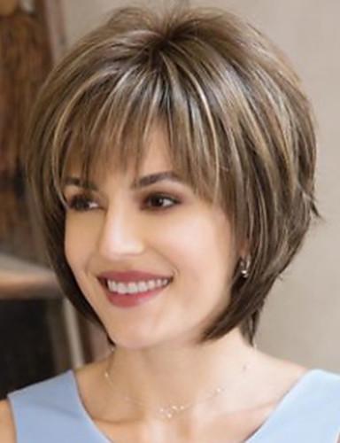 halpa Synteettiset peruukit-Synteettiset peruukit Luonnollinen suora Epäsymmetrinen leikkaus Peruukki Lyhyt Beige Synteettiset hiukset 6 inch Naisten Ruskea