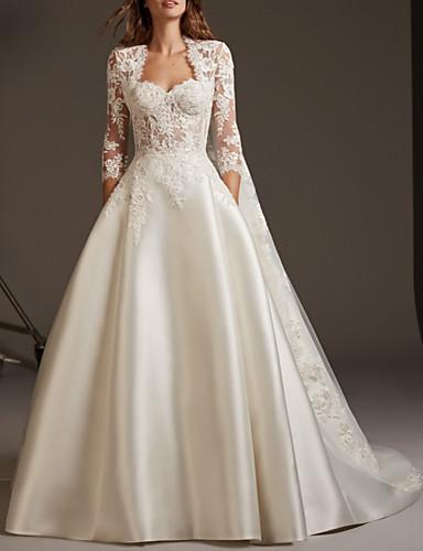 זול מכירה מראש-נשף שמלות חתונה לב (סוויטהארט) שובל סוויפ \ בראש תחרה סאטן שרוול 4\3 מידות גדולות שרוול האשליה עם ריקמה 2020 / Yes