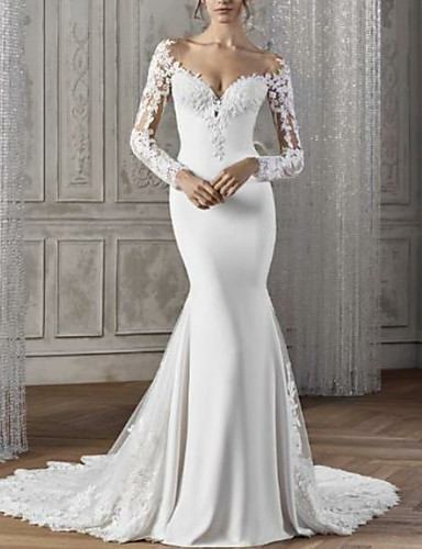 cheap Wedding Dresses-Mermaid / Trumpet V Neck Court Train Lace / Satin Long Sleeve Sexy Backless / Illusion Sleeve Wedding Dresses with Lace Insert 2020