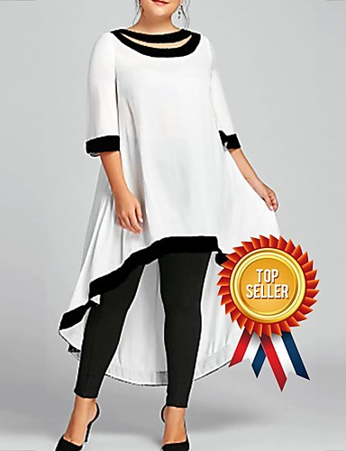 cheap White Dresses-Women's Plus Size Maxi Sheath Dress - 3/4 Length Sleeve Solid Colored Spring & Summer Casual 2020 Wine White Black Blue Navy Blue S M L XL XXL XXXL XXXXL XXXXXL