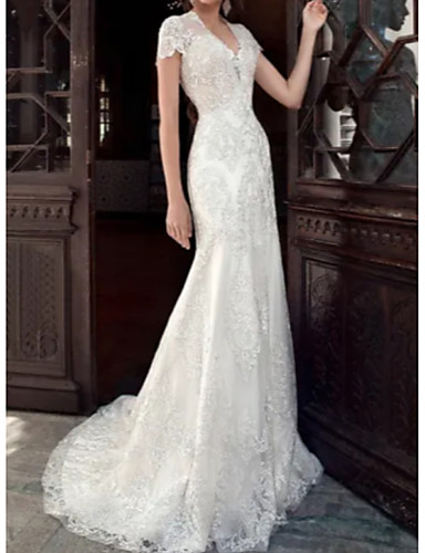cheap Wedding Dresses-A-Line V Neck Court Train Tulle / Charmeuse Short Sleeve Formal Plus Size Wedding Dresses with Beading / Lace Insert / Appliques 2020