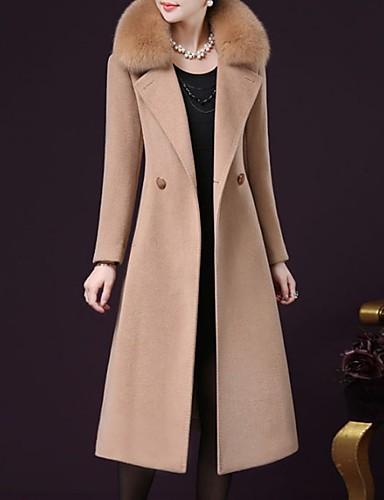 رخيصةأون ملابس نسائية-نسائي مناسب للخارج الخريف / الشتاء قياس كبير ماكسي معطف, لون سادة كم طويل كشمير / بوليستر أسود / نبيذ / فوشيا