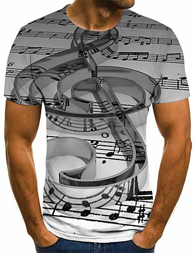 cheap Men's New Ins-Men's Plus Size Geometric 3D Pleated Print T-shirt Street chic Exaggerated Daily Going out Round Neck Gray / Short Sleeve