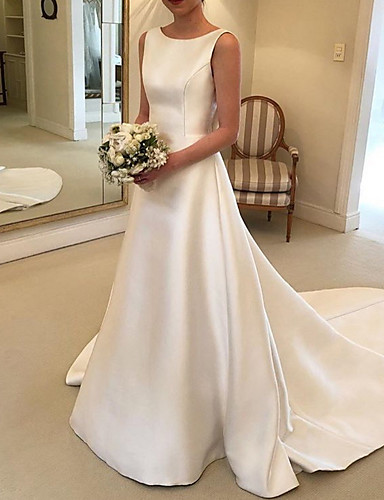 cheap Wedding Dresses-A-Line V Neck Court Train Satin Spaghetti Strap Formal Plus Size Wedding Dresses with Bow(s) / Draping 2020