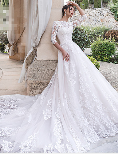 cheap Wedding Dresses-A-Line Off Shoulder Court Train Lace 3/4 Length Sleeve Country Illusion Sleeve Wedding Dresses with 2020 / Bell Sleeve