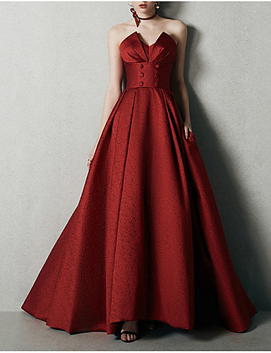 cheap Wedding Dresses-A-Line Strapless Floor Length Satin Strapless Romantic Plus Size / Red Wedding Dresses with Buttons 2020