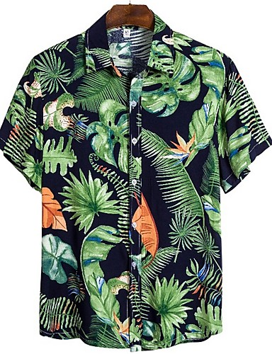 abordables Chemise hawaïen-Homme Quotidien Chemise Fleurie Manches Courtes Hauts Tropique Vert