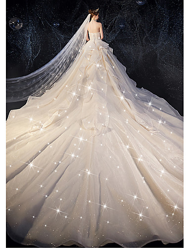 cheap Wedding Dresses-Ball Gown Strapless Watteau Train Tulle Strapless Glamorous Plus Size Wedding Dresses with Bow(s) / Ruched / Cascading Ruffles 2020