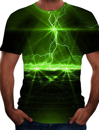 cheap Men's Tees & Tank Tops-Men's Plus Size T-shirt 3D Graphic Print Short Sleeve Tops Casual Basic Round Neck Rainbow Purple Yellow / Summer