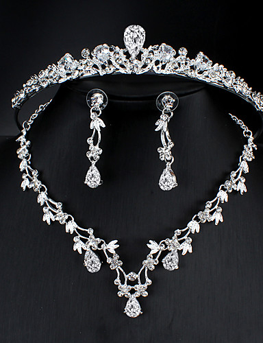 cheap Jewelry Sets-Women's White Cubic Zirconia Head Jewelry Hoop Earrings Necklace Classic Drop Pear Basic Korean Sweet Cute Earrings Jewelry Silver For Wedding Party Engagement Three-piece Suit / Bridal Jewelry Sets