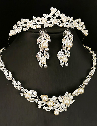 cheap Jewelry Sets-Women's White Hoop Earrings Pendant Necklace Necklace Classic Crown Flower Shape Basic Sweet Elegant Imitation Pearl Earrings Jewelry Silver For Wedding Engagement Three-piece Suit
