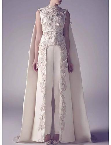 cheap Wedding Dresses-Jumpsuits Jewel Neck Watteau Train Satin Regular Straps Romantic Plus Size / Modern / Cape Wedding Dresses with Appliques 2020