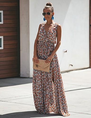 hesapli Genç Kadınlar İçin-Kadın's Çan Elbise - Çiçekli Maksi