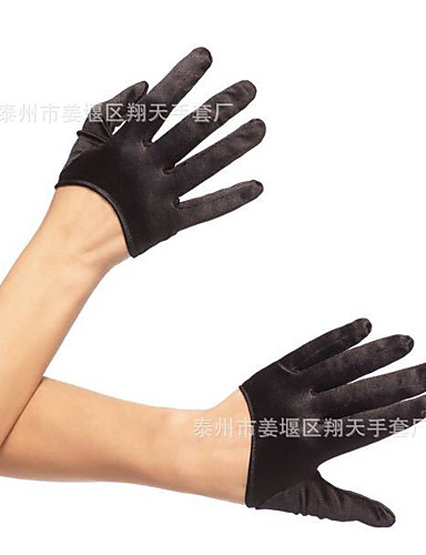 cheap Costumes Jewelry-Gloves 1950s Fingertips Satin For Audrey Hepburn Cosplay Halloween Carnival Women's Costume Jewelry Fashion Jewelry