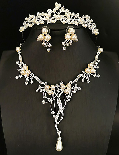 cheap Jewelry Sets-Women's White Head Jewelry Hoop Earrings Necklace Classic Flower Flower Shape Classic Basic Korean Cute Earrings Jewelry Silver For Wedding Engagement Three-piece Suit / Bridal Jewelry Sets