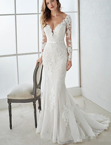 cheap Wedding Dresses-Mermaid / Trumpet V Neck Sweep / Brush Train Lace / Tulle Long Sleeve Country Illusion Sleeve Wedding Dresses with 2020 / Bishop Sleeve