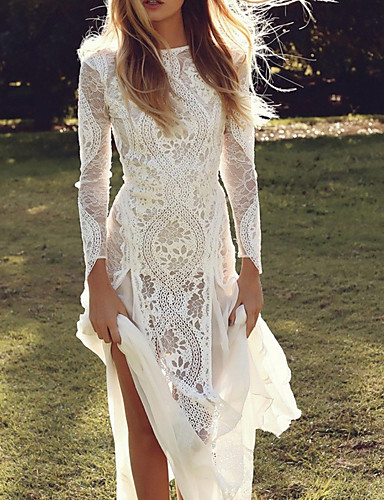 cheap Wedding Dresses-Mermaid / Trumpet Wedding Dresses V Neck Sweep / Brush Train Lace Tulle Long Sleeve Formal Boho Sexy See-Through Plus Size Illusion Sleeve with Lace Insert Appliques 2020