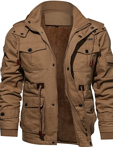 cheap Down Vest-Men's Solid Colored Vest, Polyester Black / Army Green / Khaki US34 / UK34 / EU42 / US36 / UK36 / EU44 / US38 / UK38 / EU46