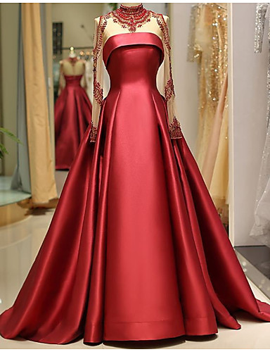 cheap Wedding Dresses-A-Line Jewel Neck Floor Length Lace Long Sleeve Formal Plus Size / Red Wedding Dresses with Lace Insert 2020