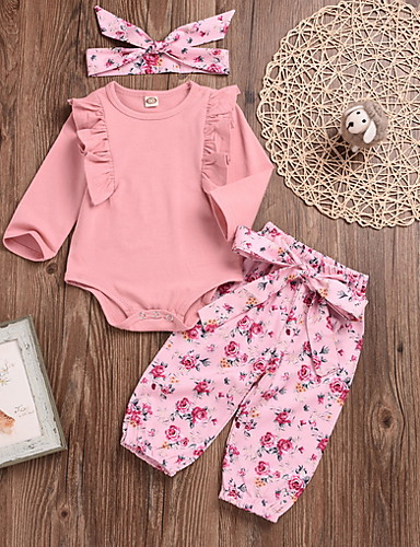 cheap Kids in home-Baby Girls' Street chic Solid Colored Long Sleeve Regular Clothing Set Blushing Pink / Toddler