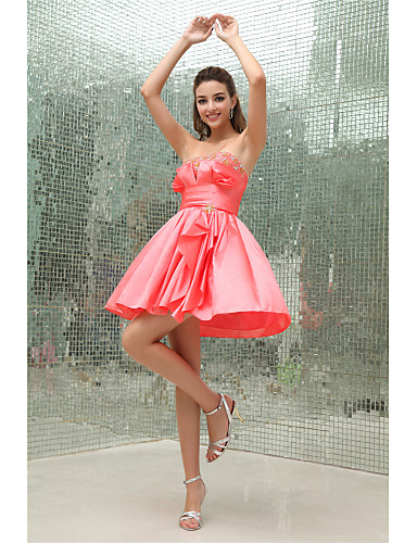 cheap Cocktail Dresses-Back To School A-Line Elegant Cocktail Party Dress Strapless Sleeveless Short / Mini Taffeta with Pleats Beading 2020 Hoco Dress