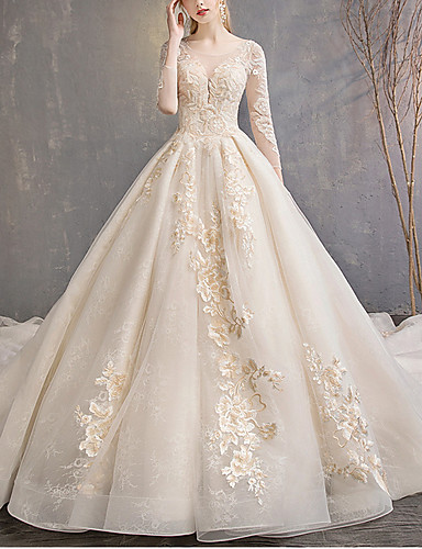 cheap Wedding Dresses-A-Line Jewel Neck Floor Length Lace / Tulle 3/4 Length Sleeve Casual Plus Size / Illusion Sleeve Wedding Dresses with Lace Insert 2020