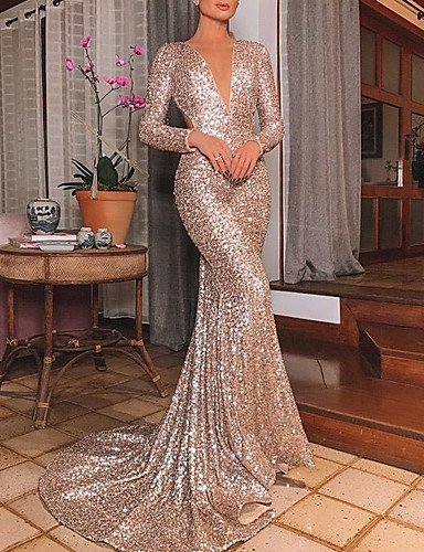 cheap Clearance-Mermaid / Trumpet Beautiful Back Engagement Formal Evening Dress V Neck Long Sleeve Sweep / Brush Train Polyester with Sequin 2020