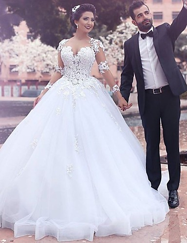 cheap Wedding Dresses-A-Line Wedding Dresses Jewel Neck Court Train Lace Long Sleeve Country Illusion Sleeve with 2020 / Bell Sleeve