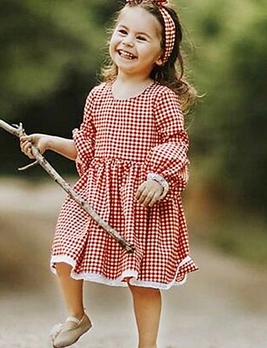 cheap Pre Sale-Baby Girls' Basic Check Long Sleeve Dress Red