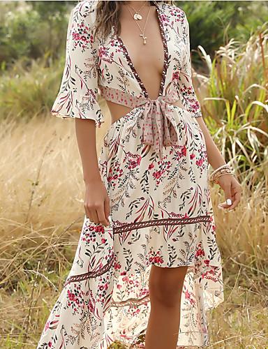 Χαμηλού Κόστους Για νεαρές γυναίκες-Γυναικεία Θήκη Φόρεμα - Μισό μανίκι Γεωμετρικό Λαιμόκοψη V Λεπτό Πράσινο του τριφυλλιού Μπεζ Τ M L XL