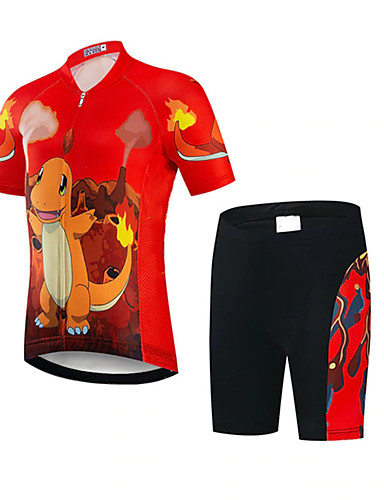 cheap Cycling-21Grams Girls' Short Sleeve Cycling Jersey with Shorts - Kid's Summer Spandex Polyester Black / Red Dinosaur Funny Animal Bike Clothing Suit UV Resistant Quick Dry Breathable Back Pocket Sweat wicking